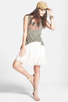 Halogen Embroidered Detail Cotton Skirt