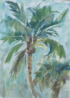 Palm Tree Painting Plein Air Painting Florida Original by cdemum, $38.00