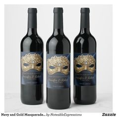 Shop Navy and Gold Masquerade Wedding Wine Label created by NoteableExpressions. Masquerade Ball Decorations, Masquerade Centerpieces, Masquerade Theme, Balloon Centerpieces, Quinceanera Centerpieces, Quinceanera Themes, Halloween Masquerade, Wedding Centerpieces, Wedding Place Cards