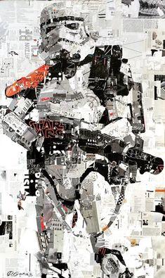 'Empire State of Mind' collage on canvas. Collage Art by Derek Gores www.derekgores.com #stormtrooper #starwarsfanart #collage