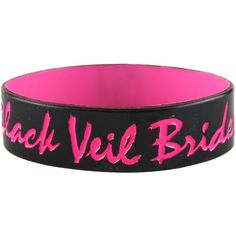 Rokk Bands Black Veil Brides pink wristband, BVB merch, wristbands UK ($7.25) ❤ liked on Polyvore