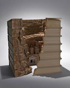 """Petra,"" by Guy  Laramée, 2007 (eroded Encyclopedia Britannica, pigments),"