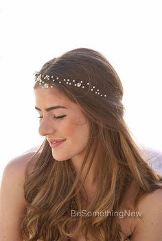 Wedding Hair Vine of Vintage Flowers Pearls and por BeSomethingNew