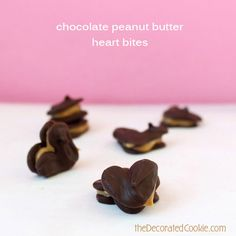 bite-size chocolate peanut butter heart sandwiches for Valentine's Day