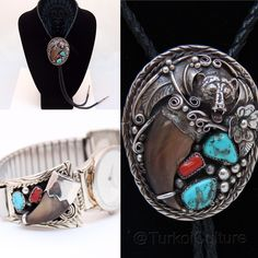 Turkoi's Tie Bear Claw Set This set comes with a sterling silver, turquoise and coral watch & bolo tie! Signed by the artist, prefer to sell as set... Serious inquires will be considered upon request of single piece! native american  Jewelry