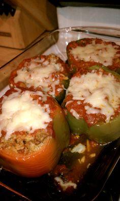 Stuffed Peppers- I used turkey burger, rice, Rotel, marinara and cheese