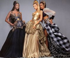 Atelier Versace Fall/Winter 1992 ads starring Naomi Campbell, Stephanie Seymour and Yasmeen Ghauri.