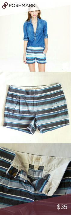 "Zig Zag Stripe Shorts J. Crew brand. Size 00. Textures stripes. Refined pleats.  ""It's the sophisticated short."" 72% Cotton - 28% Polyester. Machine wash. Sits at waist. 3"" inseam. Double hook & bar / zipper closure.  Excellent conditon! Worn once. Pockets are still sewn closed. J. Crew Shorts"