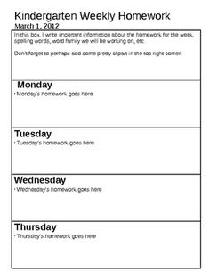 Customizable Weekly Homework Sheets- 40 in all | TPT Product ...