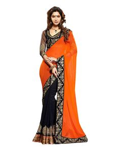 Orange Georgette Embriodered Saree with fabulous material and design. This orange saree with black border give an impressive look.