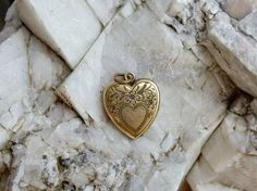Gold Filled Heart Locket with Chased Heart, Flowers on Front, Photos Inside, No Dents, Very Sweet 1940s Era Sweetheart Locket by postGingerbread on Etsy