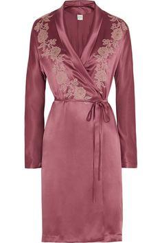Carine GilsonLace-appliquéd silk-satin mousseliné robe