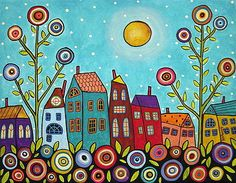 Houses Blooms And A Moon by Karla Gerard