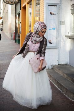 The tulle skirt <3 the clutch <3 and the scarf <3