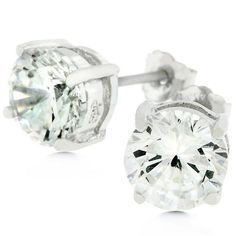 6.25 MM White Gold Rhodium Bonded to #.925SterlingSilver #Earrings with Prong Set Round Cut Clear CZ in Silver Tone
