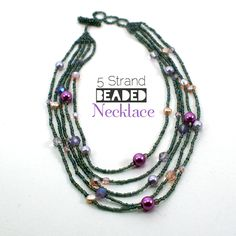 multiple strand bead necklace with pendent | Multi Strand Beaded Necklace