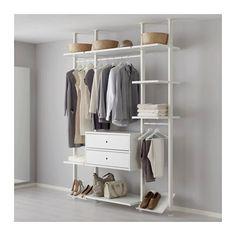 IKEA - ELVARLI, 3 Elemente, Diese offene Aufbewahrungskombination lässt sich nach Wunsch ergänzen oder verändern. Vielleicht gefällt sie dir so - wenn nicht, änderst du einfach nach Bedarf und Geschmack.Offene und geschlossene Verwahrung lässt sich nach Wunsch kombinieren - mit Böden für Dekoratives und Schubladen für alles, was man gern verschwinden lassen will.Versetzbare Böden und Kleiderstangen für bedarfsangepasste Aufbewahrung.Der Verbindungspfosten wird an der Decke befestigt. So kann…