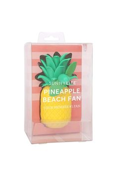 A handheld fan from Sunny Life™ featuring a pineapple design, soft blades, and a power switch.