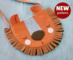 Sewing pattern for girls PDF Kids bag Gift children Animal bag Lion sewing Cute Pouch Easi tutorial beginner sewing Animal birthday party