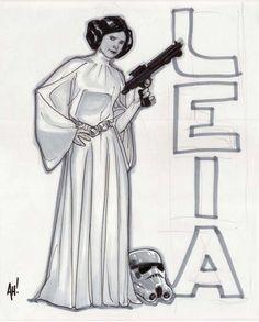 Princess Leia from Star Wars art by Adam Hughes