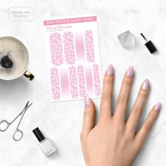 A set of long nail art decals in a delicate pink and white cherry blossom pattern. Celebrate the Spring cherry blossom bloom with beautiful nail art! Also included are three strips of white to pink gradients to create matching ombre nail art. These nail decals are curved on either side so they're easy to match up with your cuticle line. These full coverage nail decals are perfect for people with long nails, but they can be used on short nail lengths as well. These are transparent water slide nai Cherry Blossom Nails, White Cherry Blossom, Cherry Blossoms, Nail Art Designs Videos, Nail Designs, Short Nails, Long Nails, Long Nail Art, White Cherries