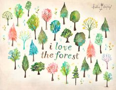 I Love The Forest    horizontal print by thewheatfield on Etsy