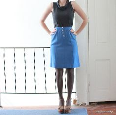 60s Mod skirt High Waisted Skirt Blue Wool by AllengroveVintage, $22.00