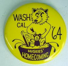 UW Huskies Football button from 1964.