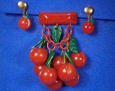 1940's Vintage RESTORED Dangling BAKELITE CHERRIES Brooch, PLUS CHERRY EARRINGS