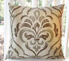 Decorative Pillow Brown Modern Damask Cover  Throw by MotifPillows, $42.00