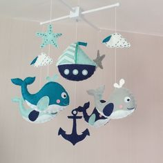 Baby mobile Crib mobile Cot mobile nautical baby от EllaandBoo