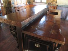 """WoodForm™ Concrete Countertops with 4"""" live edge. Concrete to look like Wood. Indistinguishable from wood."""