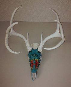 Decorated 8 point whitetail deer skull and antlers