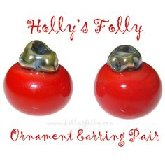 Ornament Earring Pair Glass Beads Red Holiday by HollysFollyGlass, $10.00