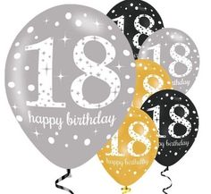 Happy Birthday Gold Mix Sparkling Celebration Balloons - Latex - Birthday Balloons & Decorations (Pack of Contains latex balloons in a mix of gold, silver and black colours with 18 Happy Birthday print. Happy 18th Birthday Daughter, Happy 18th Birthday Quotes, Happy Birthday Greetings Friends, Birthday Wishes, Party City Balloons, Celebration Balloons, Birthday Balloons, 18 Birthday Party Decorations, 18th Birthday Party