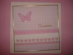 Carte de Félicitations naissance fille, rose et blanche : Cartes par filsetcouleurs