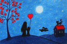 Mother Daughter Card: Heart Card, Mother Child, Art Card, Child Heart, Love Card £2.20