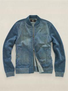Indigo Baseball Jacket with knitted sleeves Denim Shirt Men, Men's Denim, Estilo Denim, Denim Fashion, Guy Fashion, Stylish Men, Swagg, Outerwear Jackets, Menswear