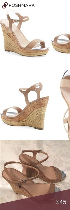 """Charles by Charles David """"Arizona"""" Espadrilles Espadrille trim accentuates the cork platform and wedge of a vintage-chic sandal topped with a slim, tasteful ankle strap. Good condition but small scrape on left heel as shown. Charles David Shoes Espadrilles"""