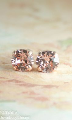 rose gold earringsblush crystal earringsblush by EndoraJewellery