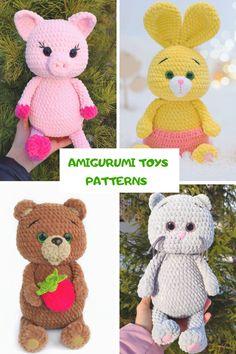 Crochet Animal Patterns, Crochet Patterns Amigurumi, Stuffed Animal Patterns, Crochet Dolls, Handmade Toys, Etsy Handmade, Handmade Ideas, Diy Crochet And Knitting, Knitting Toys