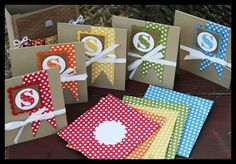 Morning Post Alphabet again in each of the rainbow colors: Real Red, Pumpkin Pie, Daffodil Delight, Old Olive and Marina Mist. These happen to be 5 of the 6 colors in the Polka Dot Parade DSP packs.