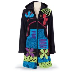 On the Road. Your colors! Your style! This coat's a rhapsody of clever, Bohemian cutwork and vivid, vibrant colors: imaginatively appliquéd and embroidered, with long sleeves, attached hood, and handy front pockets. Zippered front closure. 100% cotton. Machine/hand washable. Made in Nepal. $89.95 from The Pyramid Collection.
