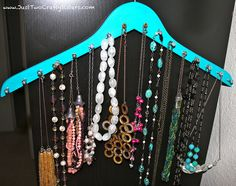 DIY Hanger Necklace Rack Tutorial by Just Two Crafty Sisters, via Flickr