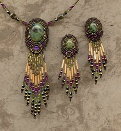 Beaded Purple, Olive Green, Beige, and Gold Pendant Necklace and Chandelier Earrings by Heidi Kummli