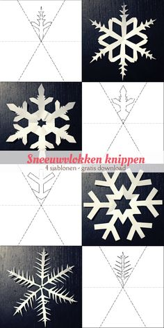 Vier gratis, printbare sjablonen van sneeuwvlokken om uit te knippen. van: www.mizflurry.nl