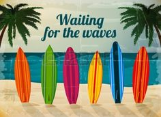 Buy Holiday Surfboards on the Ocean Beach by macrovector on GraphicRiver. Holiday surfboards on the ocean beach card vector illustration. Editable EPS and Render in JPG format. Free font http. Beach Background, Textured Background, Background Images, Vector Background, Strand Clipart, Beach Wall Murals, Wall Art, Bff, Beach Clipart