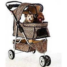 NEW Extra Wide Leopard Skin 3 Wheels Pet Dog Cat Stroller With RainCover