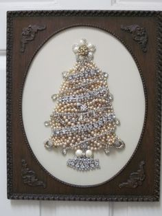 Vintage Jewelry Framed Christmas Tree Art Pearls Rhinestones Z Jeweled Christmas Trees, Christmas Tree Art, Christmas Jewelry, Vintage Christmas, Xmas Trees, Shabby Chic Christmas, White Christmas, Jewelry Frames, Jewelry Tree