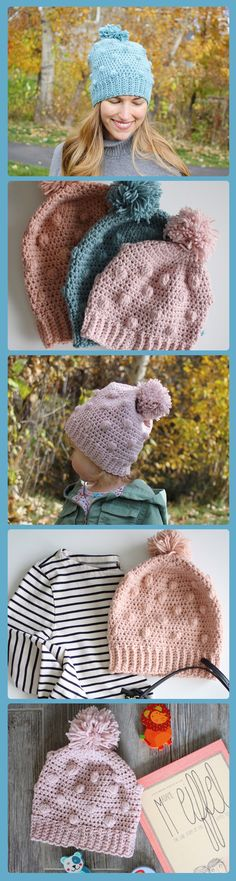 The Snowballs Hat crochet pattern creates a beautiful crochet hat to keep you or your little ones warm while throwing snowballs. This hat crochet pattern is written in 5 sizes to fit everyone on your holiday list! A pom pom crochet hat pattern by Little Monkeys Design.